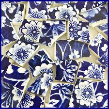 "65 BROKEN CHINA MOSAIC TILES~ 1/2"" Cobalt BLUE & WHITE Floral CALICO Chintz"