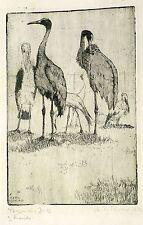 MARTIN ERICH PHILIPP / MEPH - 2 Kraniche - Radierung 1912