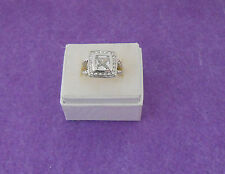 CLEAR COLOR CZ PRINCESS CUT COCKTAIL RING - CLEAR CZ ACCENTS -ROPE BAND - SIZE 7