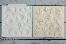 Silicone Mould Vintage Roses & Leaves Cupcake Texture Embossing Mat M164