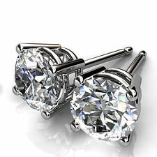 Round Cut 1.00ct Diamond Earrings Stud 14Kt White Gold VVS11/D 3002