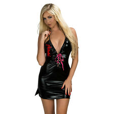 Aerusi Women Babydoll Backless Patent Leather Jumpsuit Lingerie T Back One Size