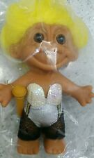 "TROLL DRESSED ROCKER LADY 5"" #18635 TOY DOLL YELLOW HAIR RUSS TROLL COLLECTIBLE"