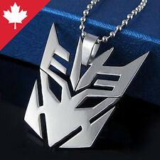 Transformer Decepticon Stainless Steel Necklace Pendant Silver Robot Emblem NEW
