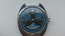 Modern Russia Watch SLAVA Black Blue Dial Fake Chronograph Dial Serviced