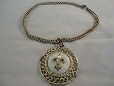 """COSTUME JEWERLY GOLD CHAIN 18""""  WITH  EMBLEM PENDANT 2 1/2 """""""