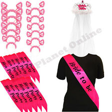 12X HEN NIGHT PARTY DO PINK SASH 12X BOPPERS 1X BRIDE TO BE SASH & 1X TIARA