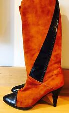Stunning RARE Vintage 80s Suede Knee High Boots Luxe Brand Patent Italy Tan 5