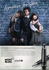 Publicité advertising 2013 Les Stylos Mont Blanc UNICEF