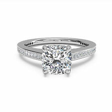 1.05Ct Diamond Engagement Ring Very Good Cushion Cut 14kt White Gold Size M