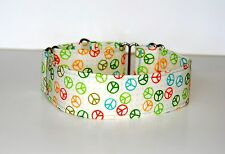"""1.5"""" Medium  Martingale Dog Collar Peace Signs on Beige Backgrounds"""