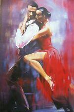 Danseurs de flamenco salsa 40x28 peinture à l'huile, pas une impression ou poster, framing disp.
