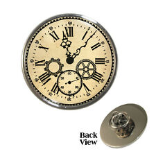 Vintage Clock Face Metal Pin Badge Victorian Steampunk Cogs Roman Brand New