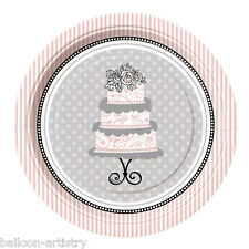 "8 Wedding Bride Elegance Party Small 7"" Disposable Paper Plates"