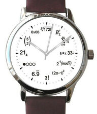 "Large ""Math Dial"" Watch Has Math Equations At Each Hour With Brown Leather Strap"