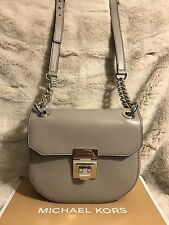 NWT MICHAEL KORS CECELIA LEATHER MINI SADDLE CROSSBODY BAG - PEARL GREY (SALE!!)