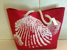 BEACH STRAW tote bag lined RED SEASHELL rope handles pocket SNAP close NEW TAGS