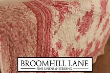 New! 100% Cotton Luxury Pink White Floral Large Quilted Throw Bedspread Striped