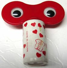 Cute Big Movable Eyes Plastic Pencil Sharpener red/wht with Bears & Hearts (461)