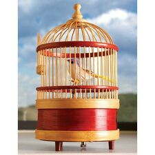 Wind Up Wooden Singing Bird Cage Music Box