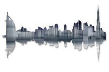 Metal City Art Dubai Reflection Skyline Wall Sculpture Decor by Ash Carl