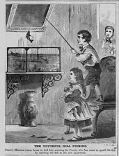 CHILDREN FISHING OUT OF AQUARIUM YOUTHFUL IDEA OF FISHING 1868 ANTIQUE ENGRAVING