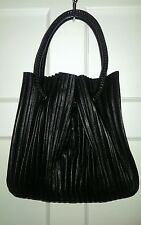 Giorgio Armani Black Pleated Leather Bucket Tote/Handbag/Purse