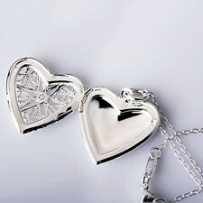 Appealing Silver Plated Heart Locket Chain Pendant Necklace Valentines Day Gift