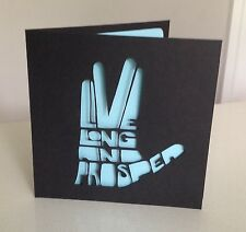 Customised Papercut Star Trek Live Long And Prosper Spock Trekkie Birthday Card