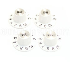 PK-0140-USAW (4) White/Silver Witch Hat Knobs For Guitar Tone/Volume