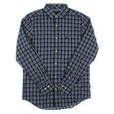 Nautica 8745 Mens Navy Plaid Wrinkle Resistant Button-Down Shirt XXL BHFO