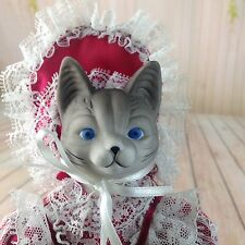 Anthropomorphic Porcelain Doll Cat Head Face Dressed As A Human Red Dress Kitten