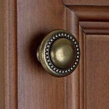 "5222-AB - 1-1/4"" Round Beaded Knob Cabinet Drawer Hardware - Antique Brass"