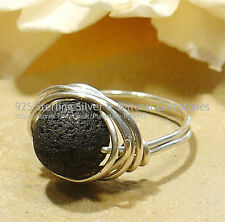 FANTASTIC VOLCANO LAVA 925 SILVER RING #2 - SIZE  O - 7 All Sizes
