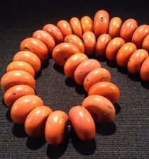37 Piece Antique Necklace Rare Sherpa Coral Glass Trade Beads - Strand D