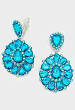 "3.25"" blue silver flower crystal rhinestone clip on earrings non pierced"