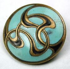 """Antique French Enamel Button Turquoise & Black Art Nouveau Design - 3/4"""""""