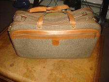 VINTAGE HARTMANN TWEED LEATHER BELTING CARRY ON BAG SUITCASE