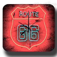 HISTORIC ROUTE 66 VINTAGE RETRO METAL TIN SIGN WALL CLOCK