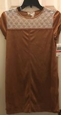 Taylor & Sage Junior's Tan Suede Dress size S NWT