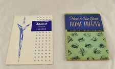 Lot of 2 Vintage Freezer Cookbooks How to Use your Home Admiral Slimline p5y25