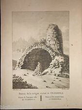 Antiquarian Engraving of Olerdola Ancient Town Ruins c1806 Catalonia/Spain Rare