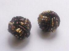 boucles d'oreilles à clips noeud de perles mauves or argent originales 4579