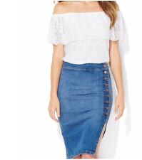 NWT WOMENS NEW YORK & COMPANY PAPER WHITE TIERED LACE OFF SHOULDER BLOUSE LARGE