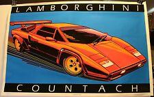 """Rare Vintage 1985 Velvet Blacklight Lamborghini Countach 23 x 35"""" Poster Flocked"""