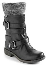 New Sugar Intzy Womens 11 Black Buckles Mid Calf Sweater Motorcycle Boots $59.00