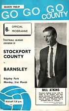 STOCKPORT COUNTY V BARNSLEY 1969 VGC - 46YEARS OLD!