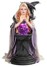 """10"""" Witch w/ LED Crystal Ball Halloween Figure Statue Figurine Fantasy Gothic"""