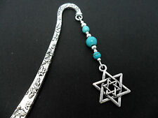 A TIBETAN SILVER STAR OF DAVID CHARM TURQUOISE BEADS BOOKMARK. NEW.