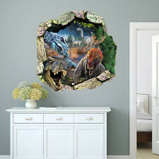 3D View Dinosaur kids room decor Wall sticker through the wall decals Mural